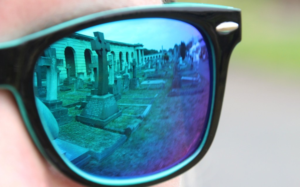 Brompton Cemetery reflection in sunglasses