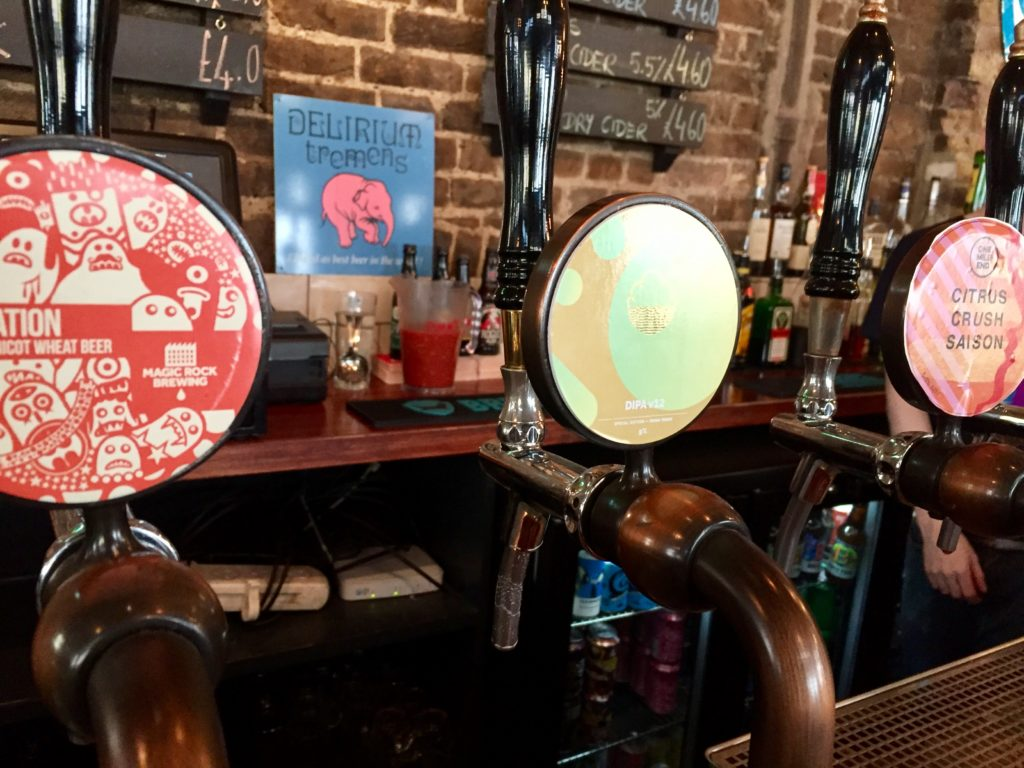Craft beer taps Crown & Anchor pub Brixton
