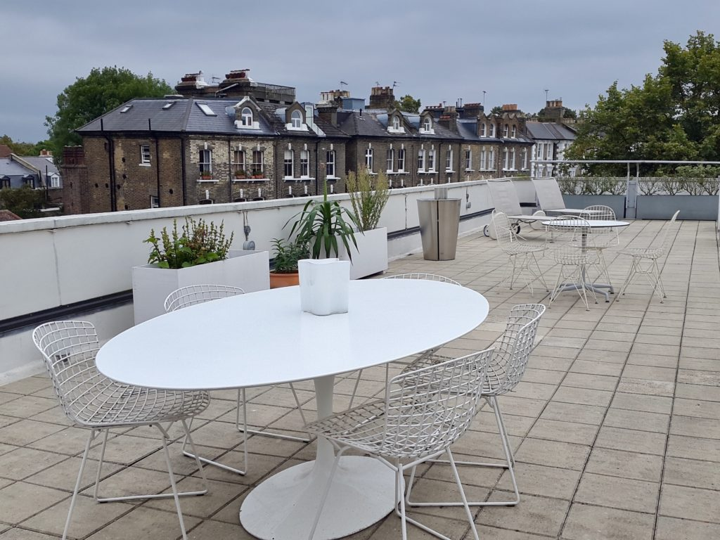 Rooftop terrace of the Isokon Building, Lawn Road Flats