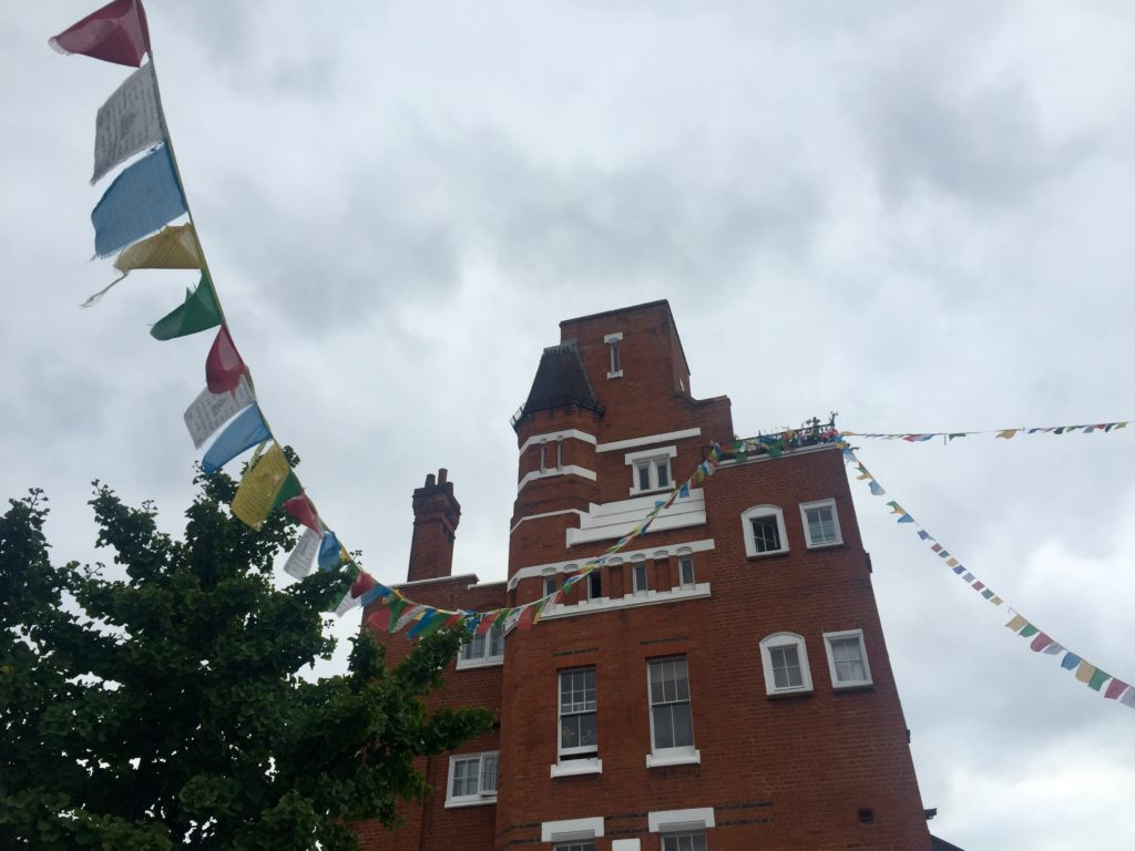 Prayer flags on the London Buddhist Centre, Bethnal Green