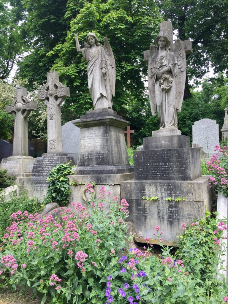 Highgate Cemetery Spring Flowers below Angel Tombstones