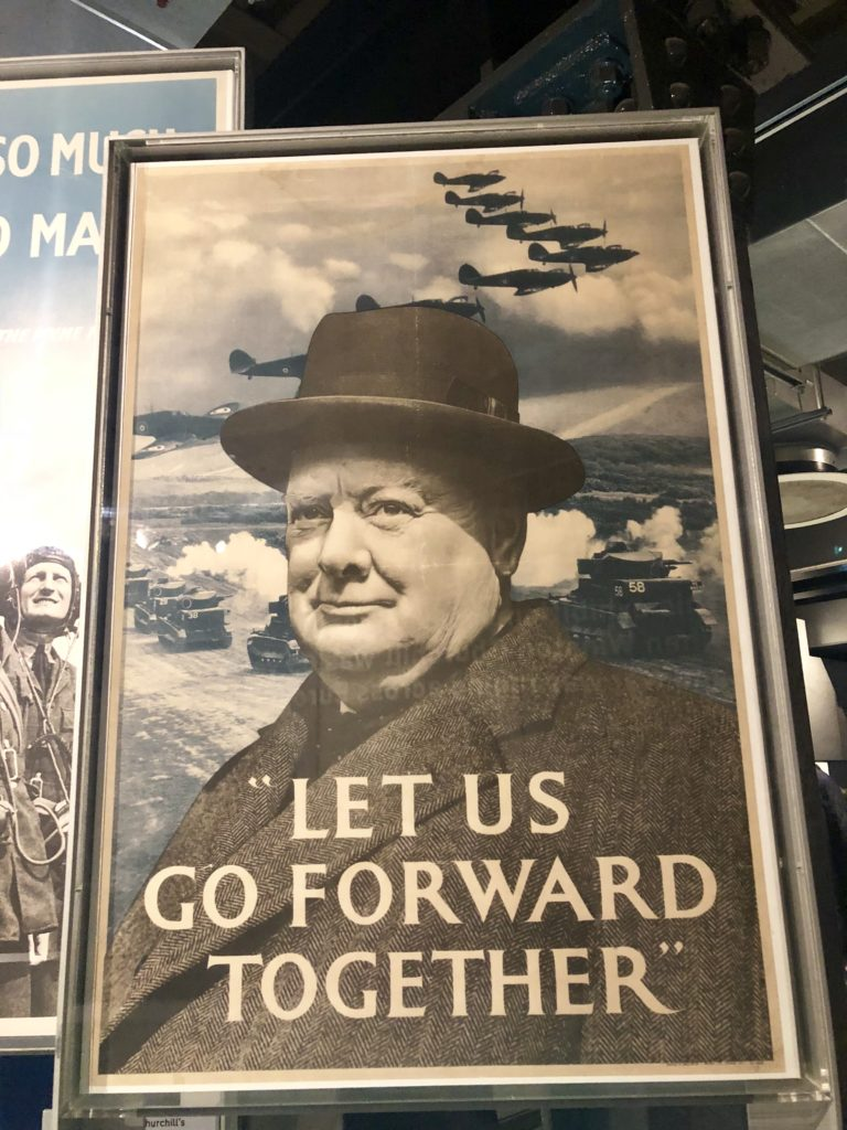 Winston Churchill poster, 'Let Us Go Forward Together', Churchill War Rooms, London