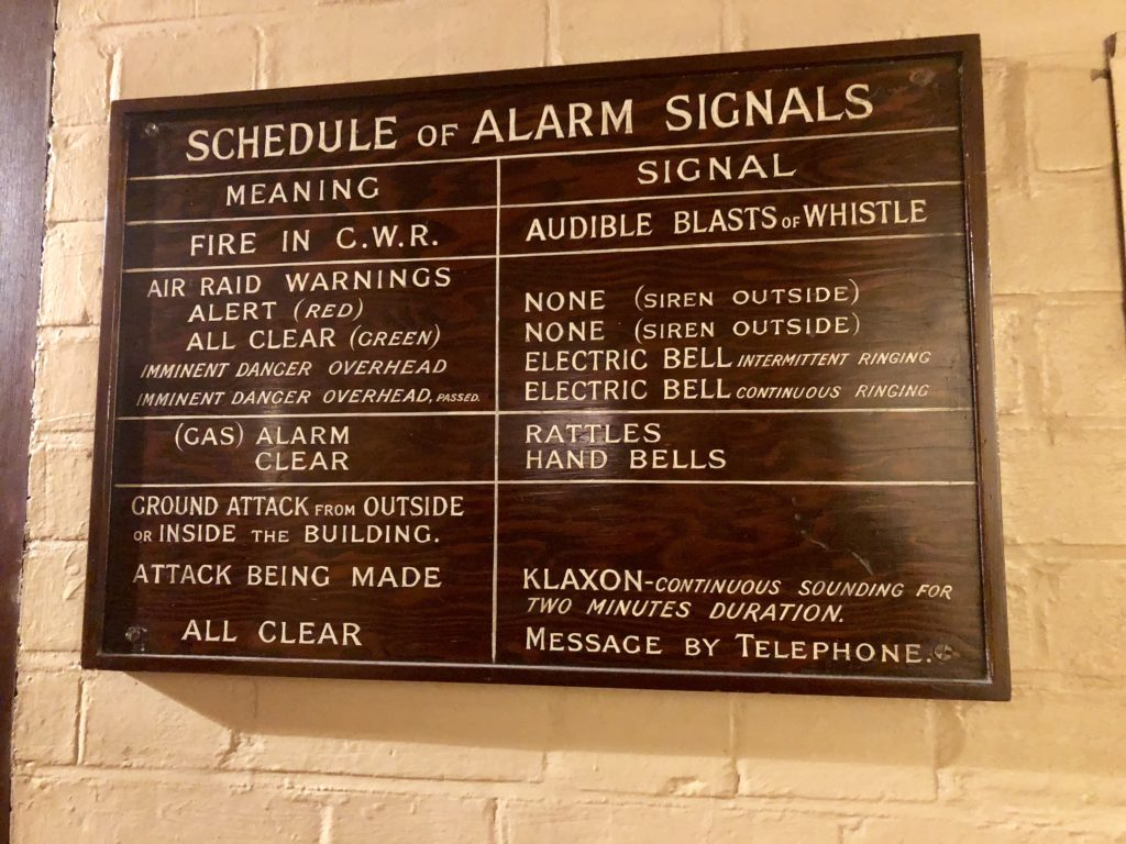 Schedule of Alarm Signals sign, Churchill War Rooms, London